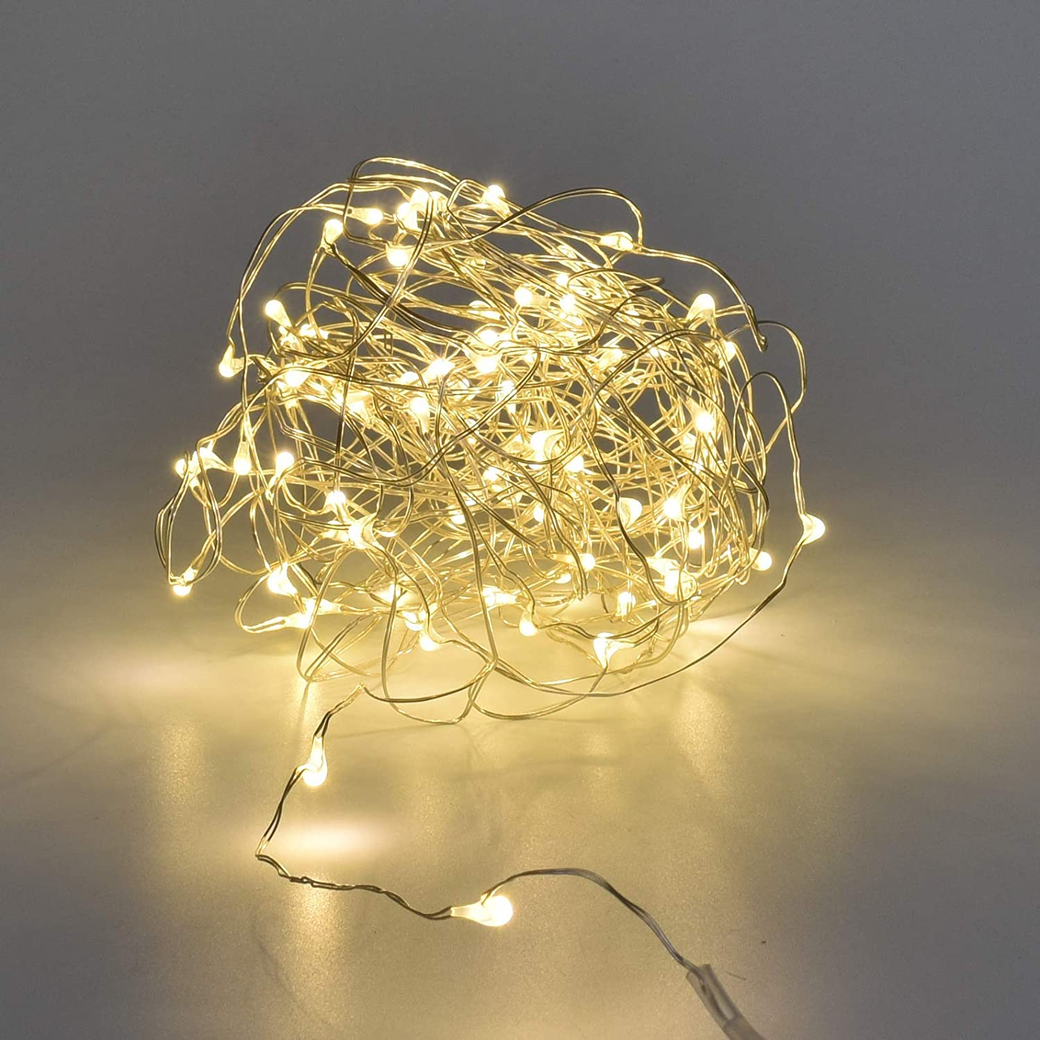 Karlling USB Plug in LED Fairy Lights,50 LED Bulbs 16 Ft Silver Wire Waterproof Starry String Lights for Bedroom Patio Garden Party Wedding Commercial Lighting Warm White