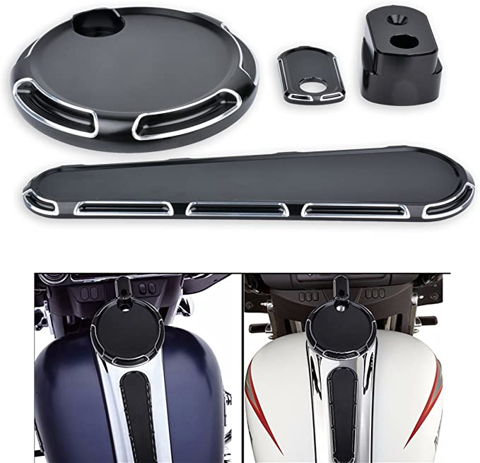KaTur 3 Pieces CNC Silver Deep Cut Dash Accessory Pack Tank Cover for Harley Touring FLHX FLTRX 2014-2017