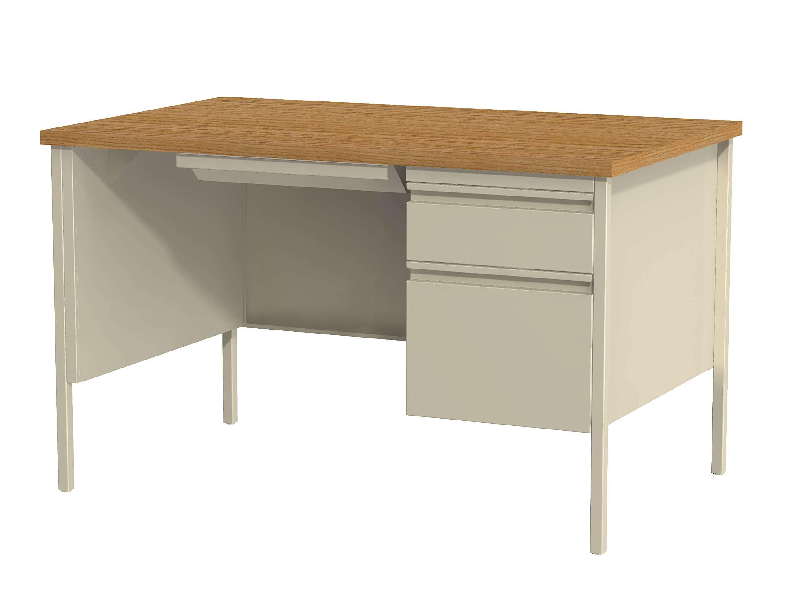 Office Dimensions Right-Hand Single Pedestal File Office Desk with Center Drawer, 30'' D x 48'' W, Putty/Oak