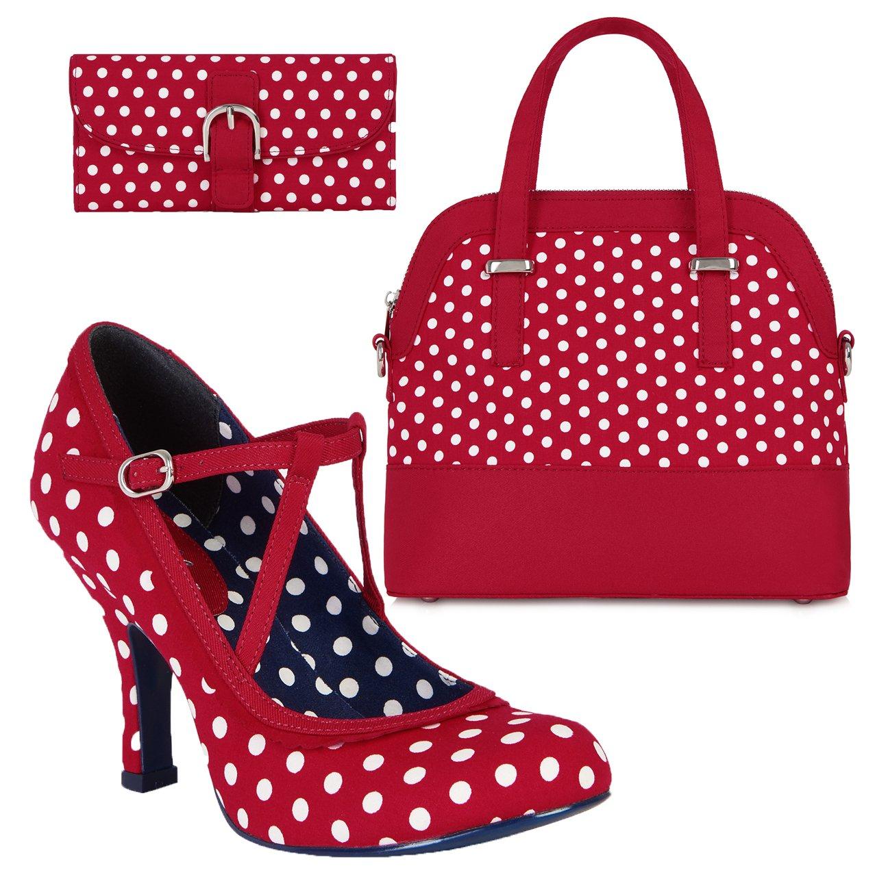 Ruby Shoo Women's Red & White Spot Jessica Mary Jane Pumps & Lima Bag & Como Purse UK 8 EU 41