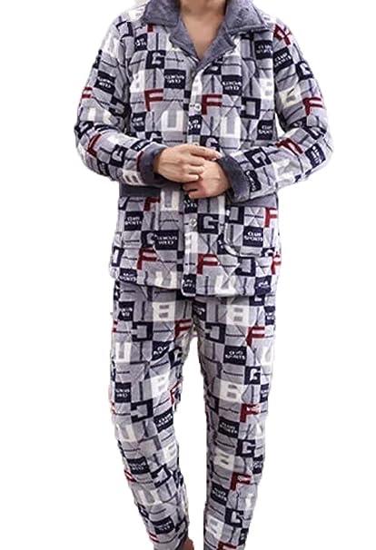 Pijamas De Hombre Pijamas De Hombre Más Grueso Clamps Calientes Inicio Use V - Cuello Cardigan