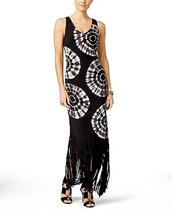 Inc International Concepts Petite Tie Dyed Fringe Maxi Dress Black S