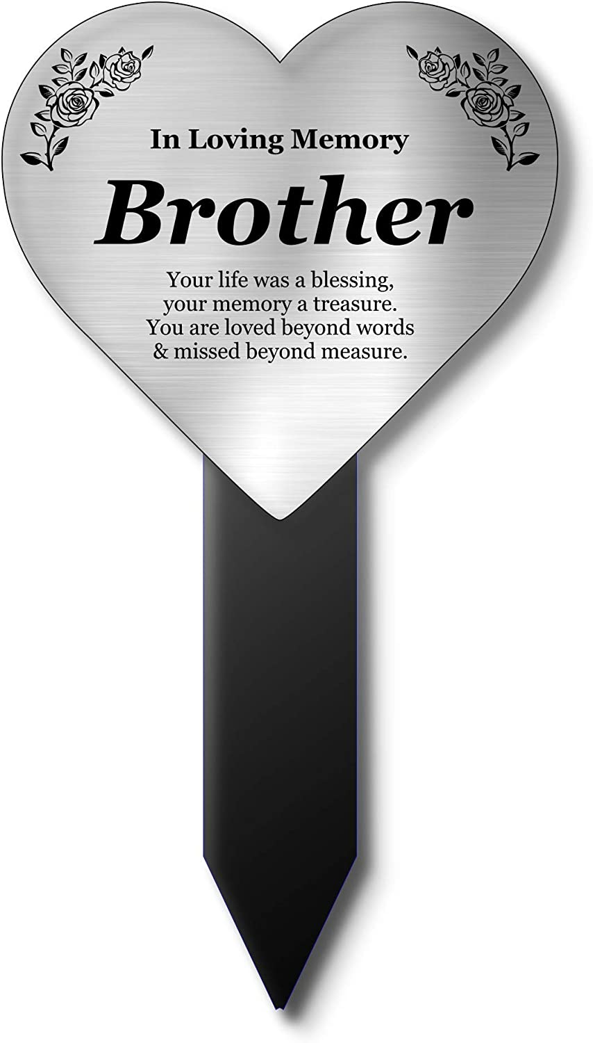 OriginDesigned Brother Memorial Remembrance Heart Shaped Plaque Stake - Silver, Waterproof, Outdoor, Grave Marker, Tribute, Plant Marker (Silver)