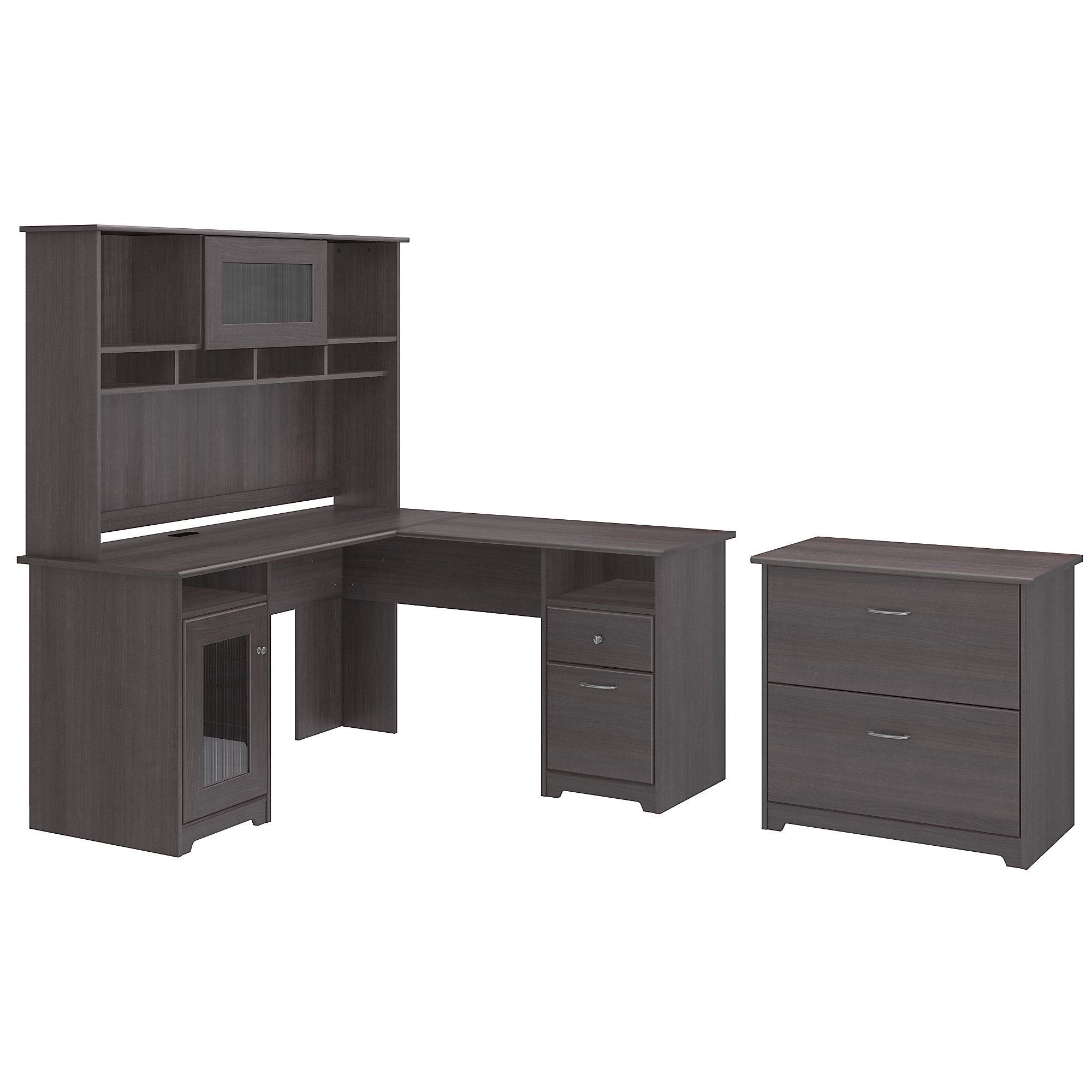 Cabot L Shaped Desk with Hutch and Lateral File Cabinet by Bush Furniture