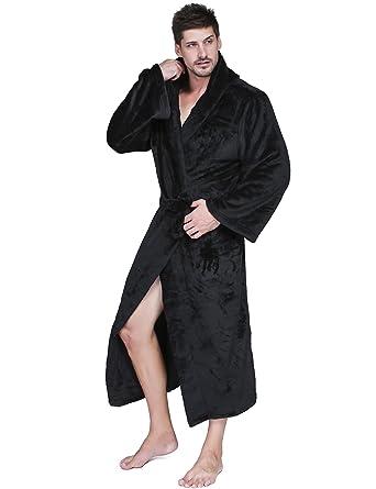 e9e70037d7 Pagacat Men s Classic Hooded Bathrobe waffle Kimono Terry Cloth Robe  Sleepwear Black L