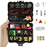 Tackle Assortment Box Fishing Accessories - 128Pcs/Set Include Hooks, Swivels, Double Loops, Spinners, Luminous Balls, Leaders, Line Stoppers, Jig Heads, Eagle Claw Hook, Sinker Etc