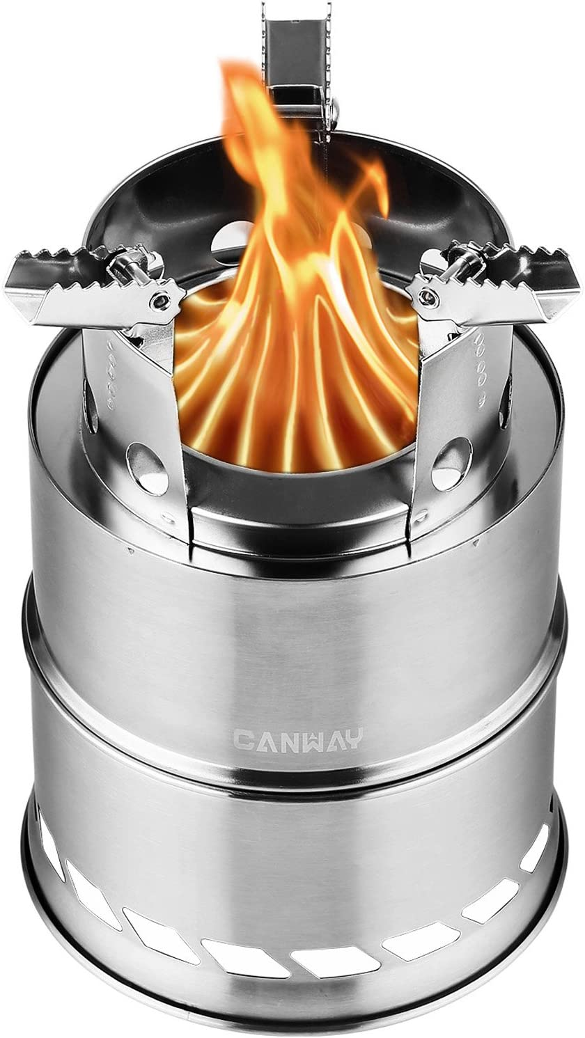 CANWAY Camping Stove, Wood Stove Backpacking Stove,Portable Stainless Steel Wood Burning Stove with Nylon Carry Bag for Outdoor Backpacking Hiking Traveling Picnic BBQ