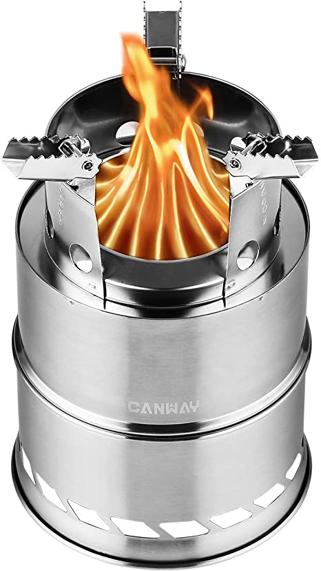 Silver Canway camp stove on white background