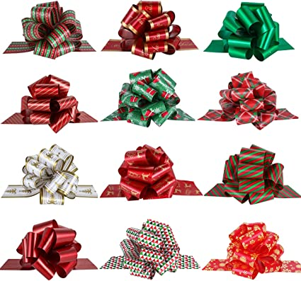 Amazon Com Pintreeland 12pcs Wrap Pull Bows With Ribbon 5 Wide Wrapping Accessory For Xmas Present Gift Florist Bouquet Basket Decoration Easy To Assemble Home Kitchen