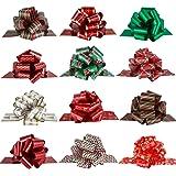 Pintreeland tirare fiocchi di Natale grande regalo fiocchi nastro 40 mm 12PCS Xmas regalo per pacchi regalo, decorazioni di Natale, per fioristi