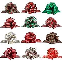 PintreeLand Christmas Pull Bows Large Gift Bows Ribbon 40mm 12PCS for Xmas Present Gift Wrapping, Christmas Decorations…