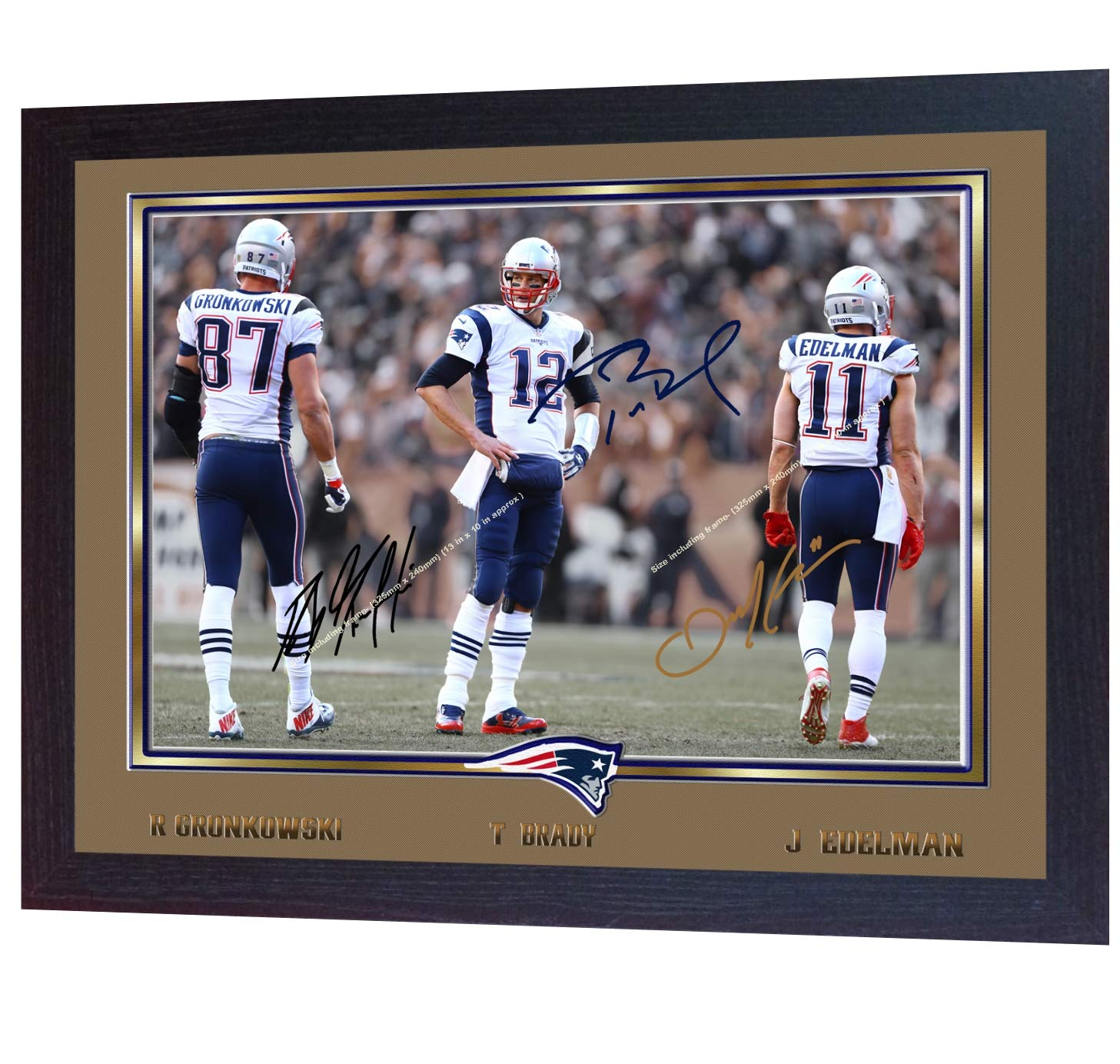 S/&E DESING Tom Brady ROB Gronkowski Julian Edelman Signed New England Patriots Print Framed