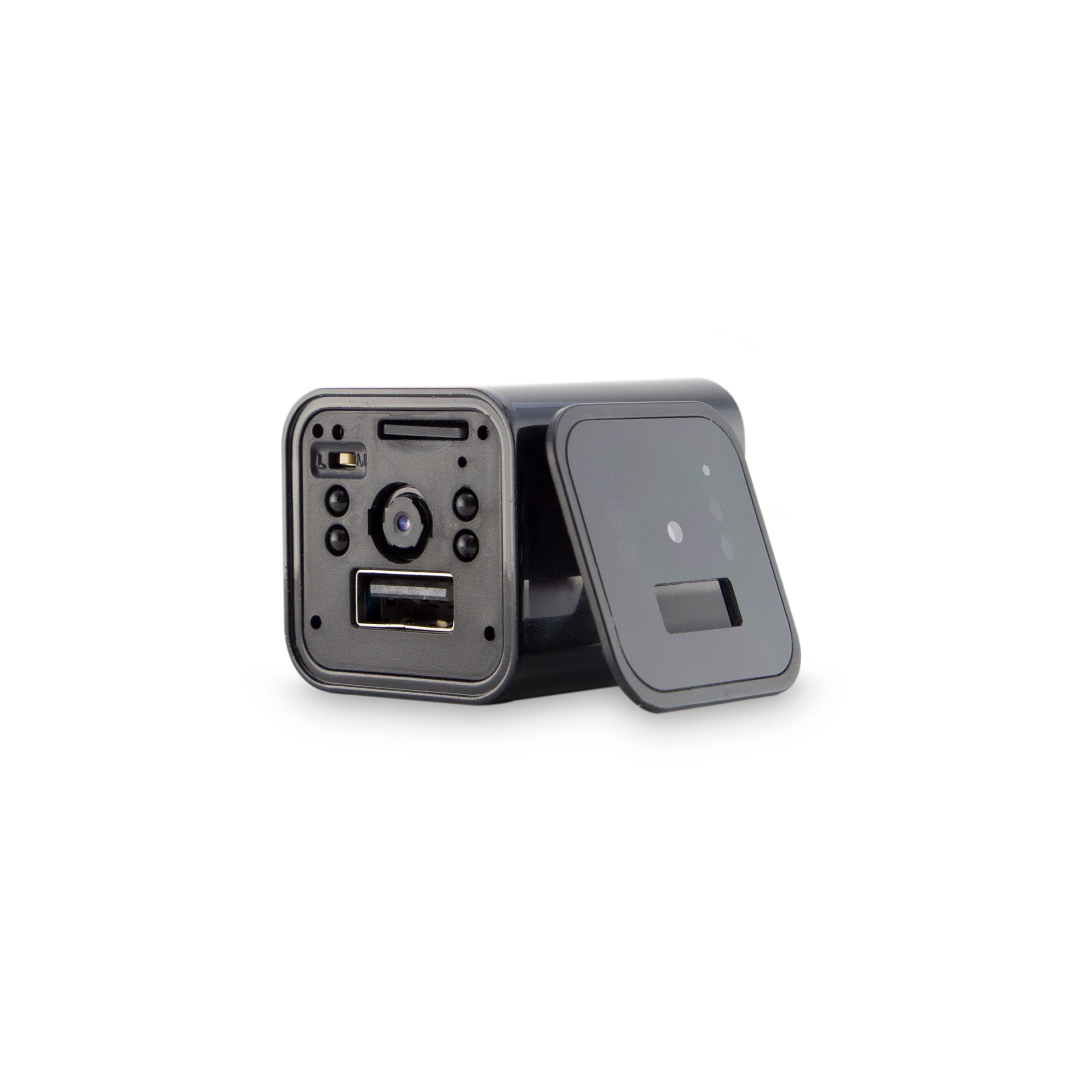 Hidden Camera USB Phone Charger Night Vision - Wall Plug Mini Security Spy Camera (Black) Carrying Case - Audio Video Recording Home Surveillance