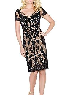 941b091609e1dc ShineGown Schwarz V-Ausschnitt Mantel Spitze kurzen Ärmeln Kleid für  Hochzeit Mutter des Bräutigams