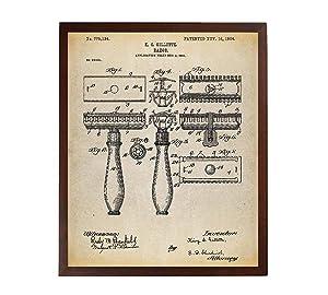 Turnip Designs Safety Razor Patent Poster Art Print First Gillette Razor Bathroom Decor Shaving Vintage Razor Barber Gifts TNP72