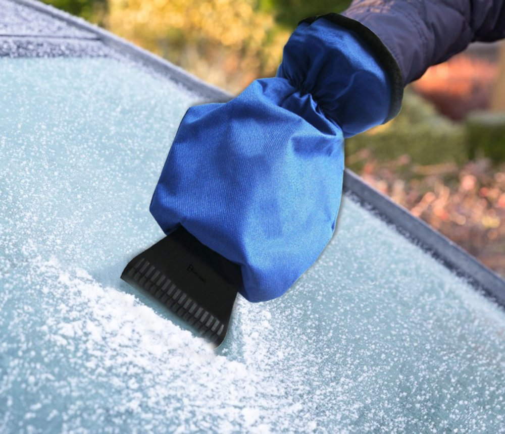 Zento Deals Durable Car Ice Scraper Windshield Blue Waterproof Mitt Glass Snow Remover Glove That Keeps Your Hands Warm Dry