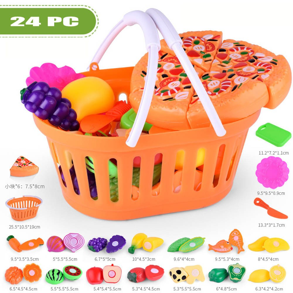 Boofab 24pc Kids Pretend Role Play Kitchen Fruit Vegetable Food Toy Cutting Set Gift Toy …
