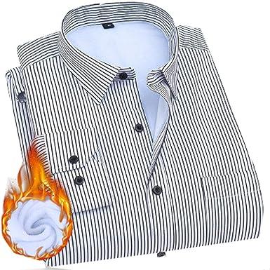 Franela Camisa de los Hombres de Manga Larga a Rayas Botones hacia Arriba y Alineado Piel Camisa Regular Fit, 8, 44: Amazon.es: Ropa y accesorios