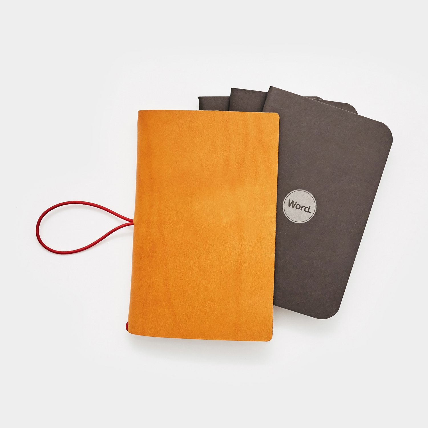 Leather Cover w/ 3-Pack Notebooks/Journals. Pocket Sized. Made in USA. Word. Notebooks. (Chestnut Leather/Black Notebooks)