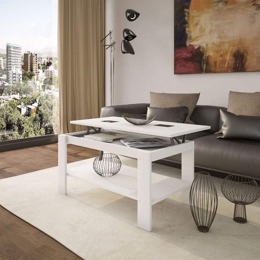 HOGAR24 - Mesa de Centro elevable Roma Blanco con Cristales ...