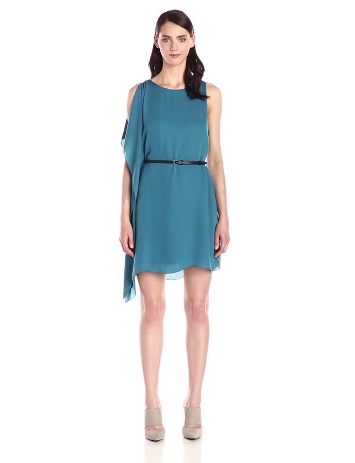 HALSTON HERITAGE Women's Asymmetrical Side Flutter Flowy Dress, Atlantic, 0