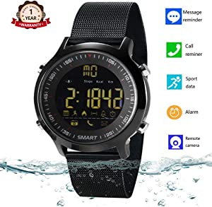 Bluetooth Smart Watch Waterproof Smartwatch Sports Smart Watches for Men Women Boys Kids Android iOS iPhone Samsung Huawei with Pedometer Fitness Tracker SMS Call Reminder Luminous Night Light