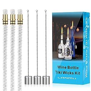 LANMU Wine Bottle Tiki Wicks,Bottle Tiki Torch Kit,Patio Torches Tiki Lights Oil Lamp Kit,Citronella Torch,Outdoor Garden Torch,DIY Tiki Torch Hardware Kit(3 Tiki Wicks,3 Brass Mounts & 3 Lamp Covers)