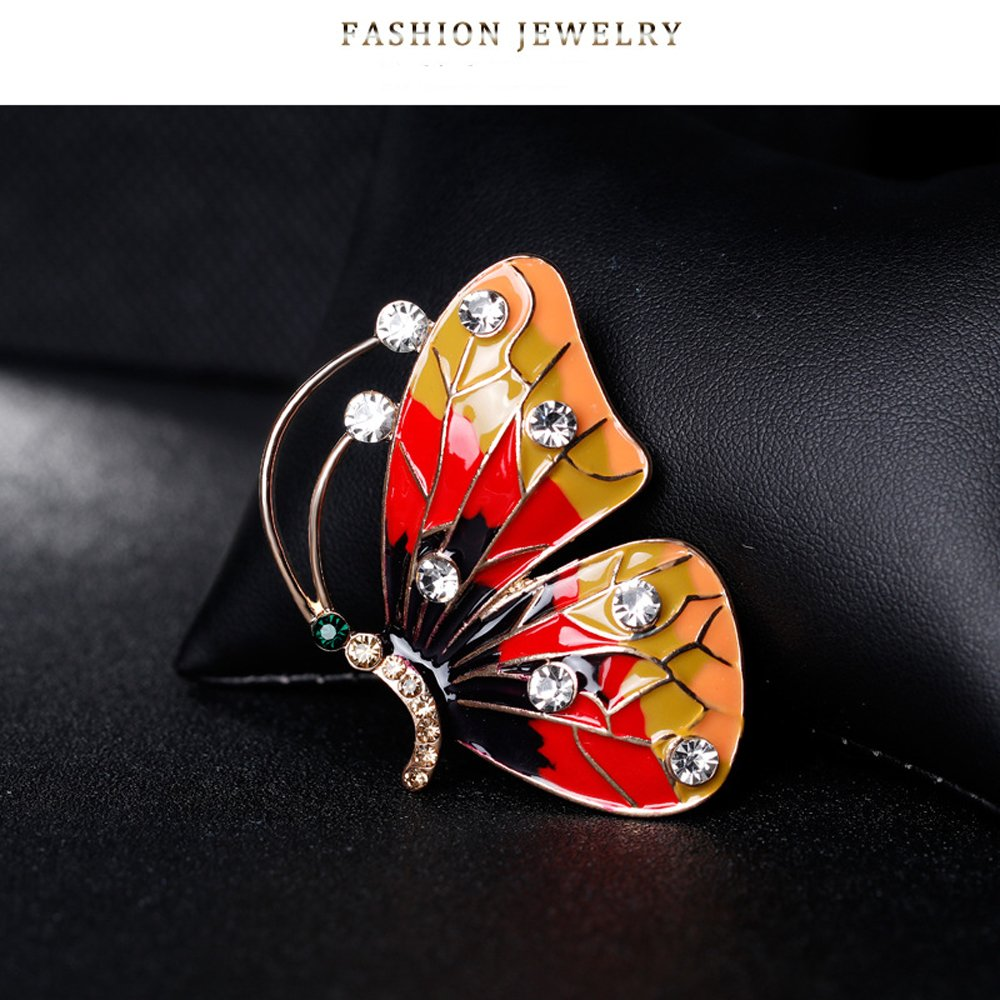 AOCHEE Colorful Butterfly Crystal Rhinestones Enamel Paint Pearls Brooch Lapel Pin Jewelry for Women Girls (2) by AOCHEE (Image #5)