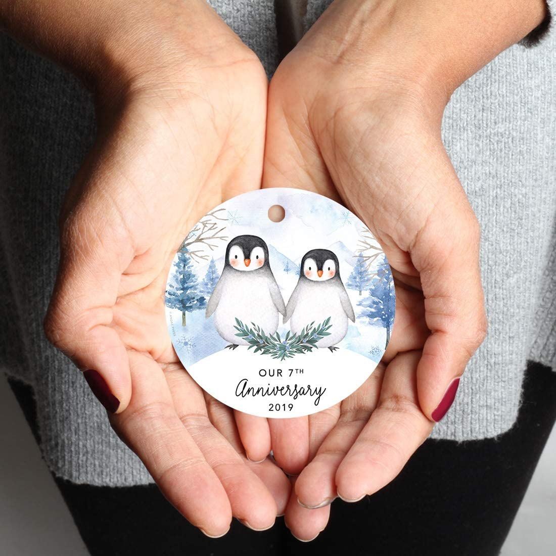 Watercolor Winter Penguins on Snow 1-Pack Andaz Press Family Round Metal Christmas Keepsake Ornament Includes Ribbon and Gift Bag Our First Christmas As Mommy and Daddy 2019