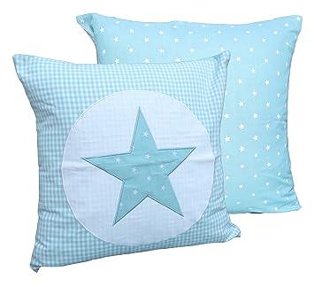Funda de cojín estrella Diseño de cuadros turquesa azul ...