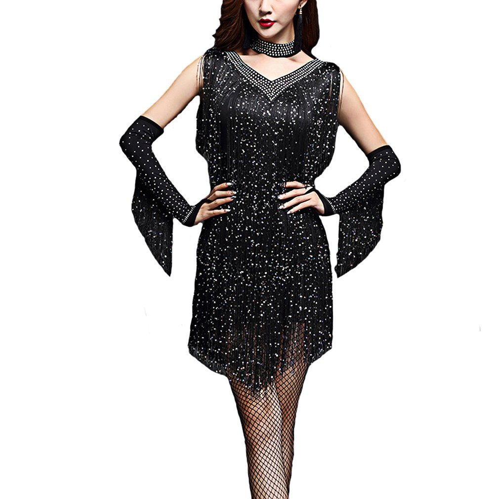noir XL YANXH Clothing V Neck des Années 1920 Sequin Frange Charleston Flapper Dance Robes Costumes