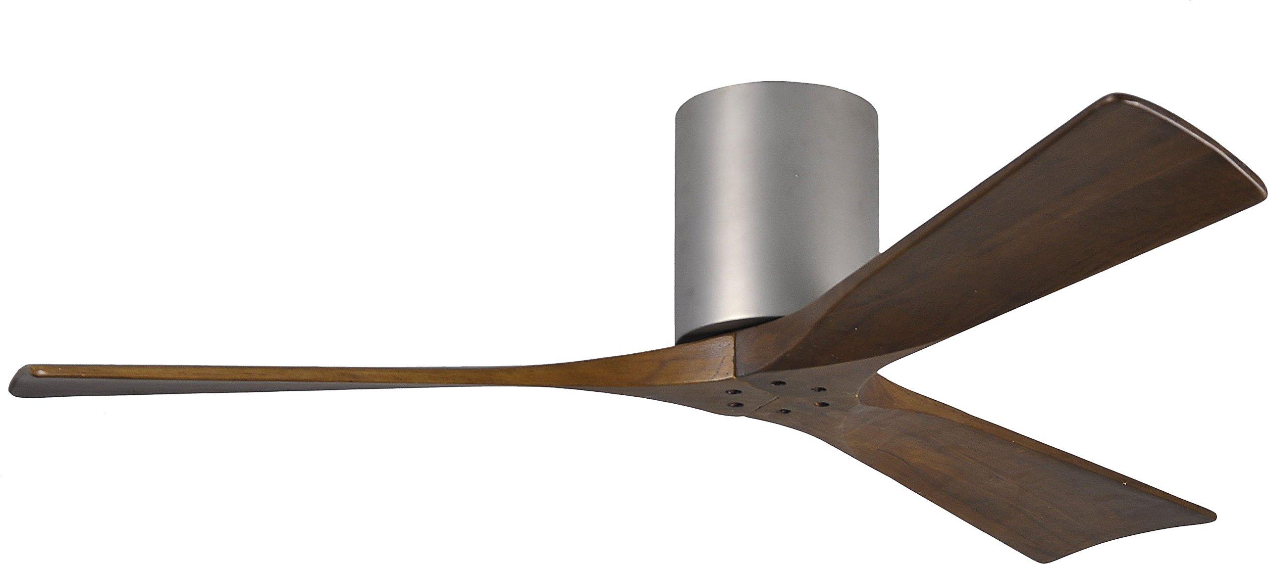 Matthews IR3H-BN-52, Irene Brushed Nickel Flush Mount 52'' Outdoor Ceiling Fan w/ Remote Ctrl