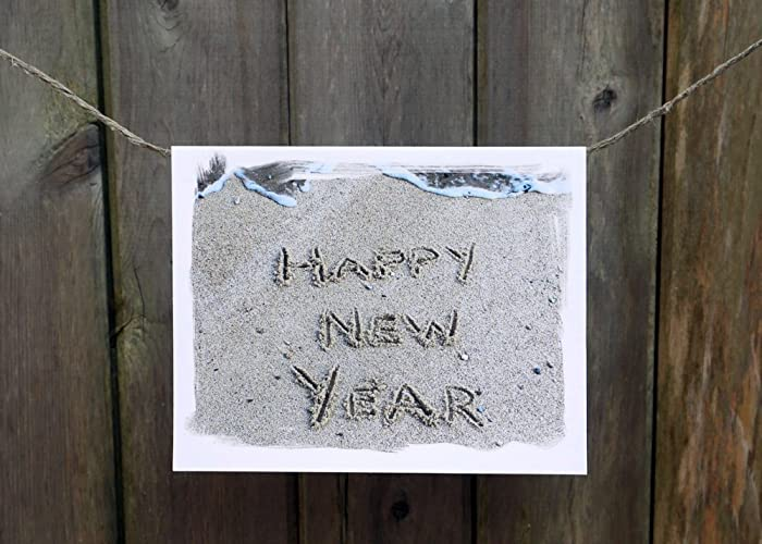 happy new year cards beach theme card set beach wish written in sand