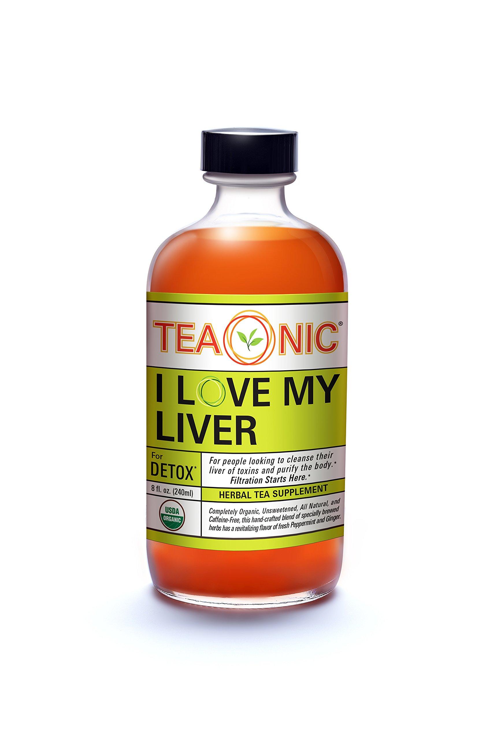 Teaonic I LOVE MY LIVER for Detox Bottled Herbal Tea Supplement, 8oz(12 Pack)