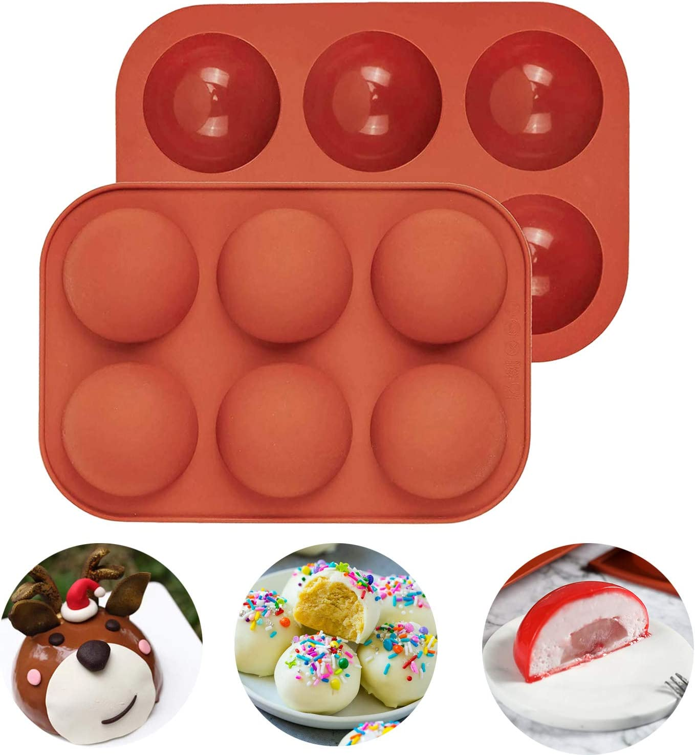 Hot Chocolate Bomb Mold, Hemisphere Cake Mold, 6 Cavity Baking Molds, DIY Tool for Making Hot Chocolate Bombs, Round Shape Cake, Kitchen Accessories(2PCS,semicircle high: 0.98inch, diameter: 2.04inch)