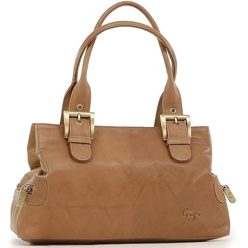 Gigi - Women s Leather Top Handle Handbag Shoulder Bag - OTHELLO 6165 -  Antique Honey b667fe6d1faf4