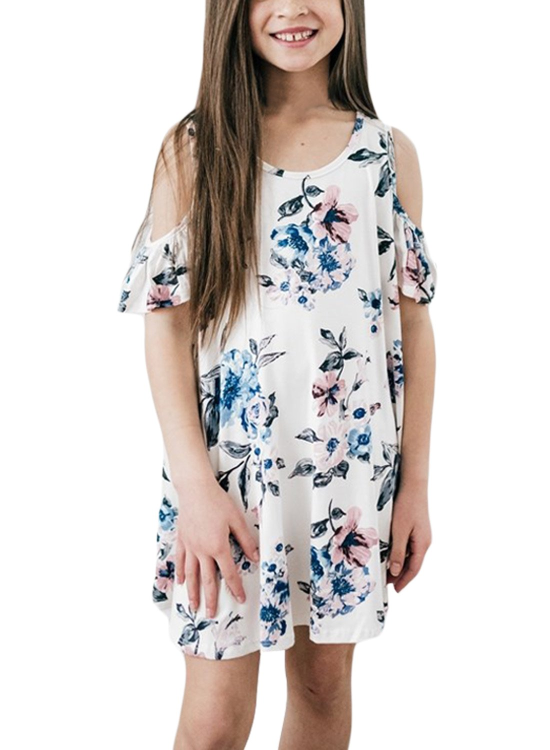 Diukia Girl's Little Kids Summer Floral Print Cotton Cold Shoulder Cute Casual Tunic Dress X-Large Size White