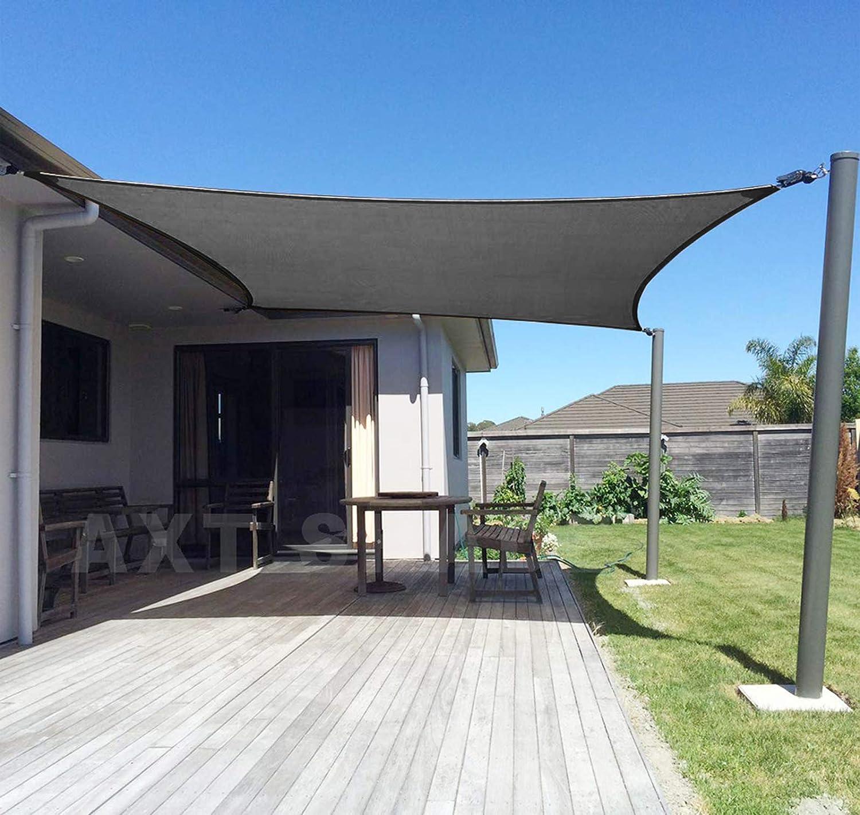 AXT SHADE Toldo Vela de Sombra Rectangular 2,5 x 3 m, protección Rayos UV y HDPE Transpirable para Patio, Exteriores, Jardín, Color Gris