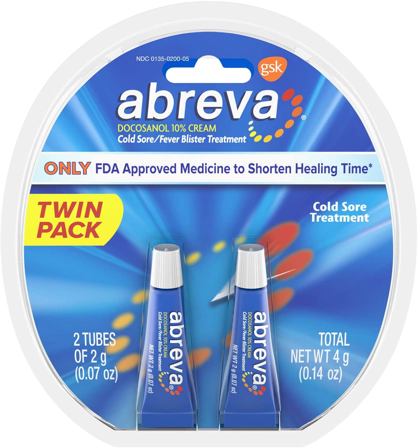 Abreva Docosanol Cold Sore Treatment 10% Cream Tube, Only FDA Approved Treatment for Cold Sore and Fever Blister, 2g Tube (Pack of 2): Health & Personal Care