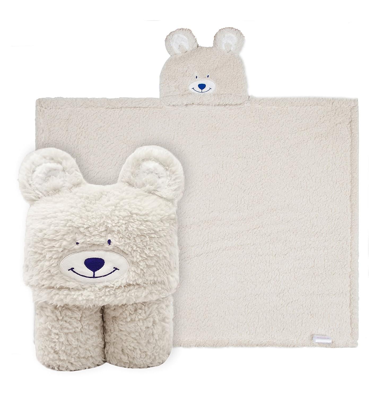 Kids Bear Hooded Blanket Sherpa Fleece Animal Bath Throw, 76x101cm Ataya
