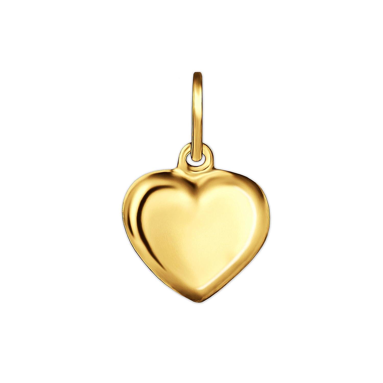 CLEVER SCHMUCK Goldener sehr Kleiner Anhänger Mini Herz 6 mm beidseitig plastisch gewölbt glänzend 333 Gold 8 Karat ahg306_333