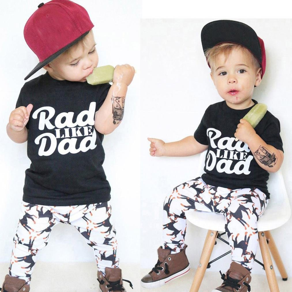 Puppy Patterns Pants 2pcs Outfits ChainSee Kids Boys Letter Short Tops Shirt