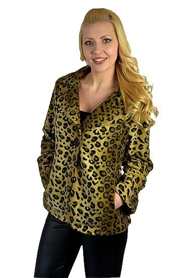 6a726f243e15b Womens Leopard Print Jacket Buttoned Ladies Short Coat Fur Look  Amazon.co. uk  Clothing