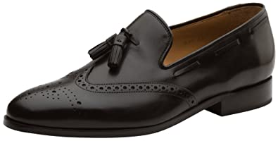 33242dab4f8bb Dapper Shoes Co. Handcrafted Men's Genuine Leather Lined Slip-On Wingtip  Tassel Loafer Perforated Dress Shoes