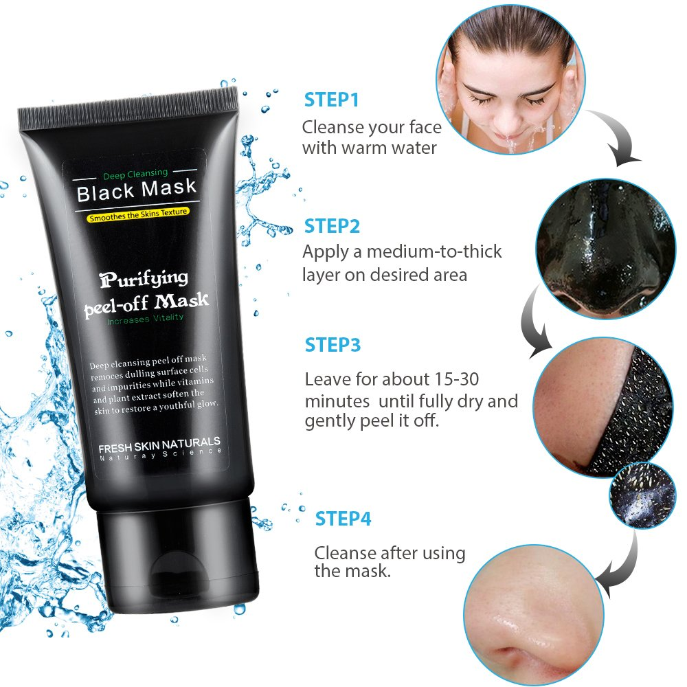 Purifying Peel Off Mask Blackhead Remover,Mscolor Deep Pore Cleansing Mask, Black Activated Charcoal Mask for Face Nose Acne Treatment Oil Control (black mask)