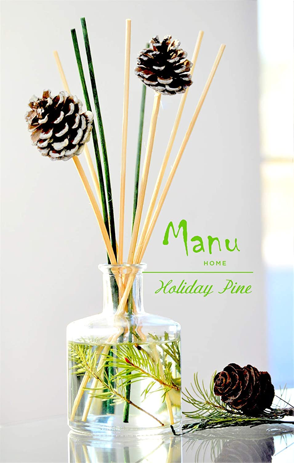 Manu Home Fresh Forest Pine Diffuser ~ The Scent of Pine with Cedar Wood, Patchouli and Thyme. Our Natural Reeds Produce a Light, Delicate Fragrance Drawn from Pure Essential Oils of botanicals~