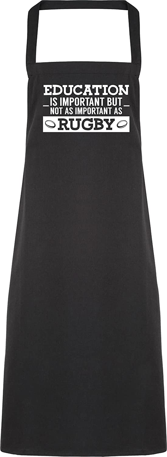 Hippowarehouse Education is important but not as important as rugby Apron kitchen cooking painting DIY onesize adult 62611-APR-Black-One size