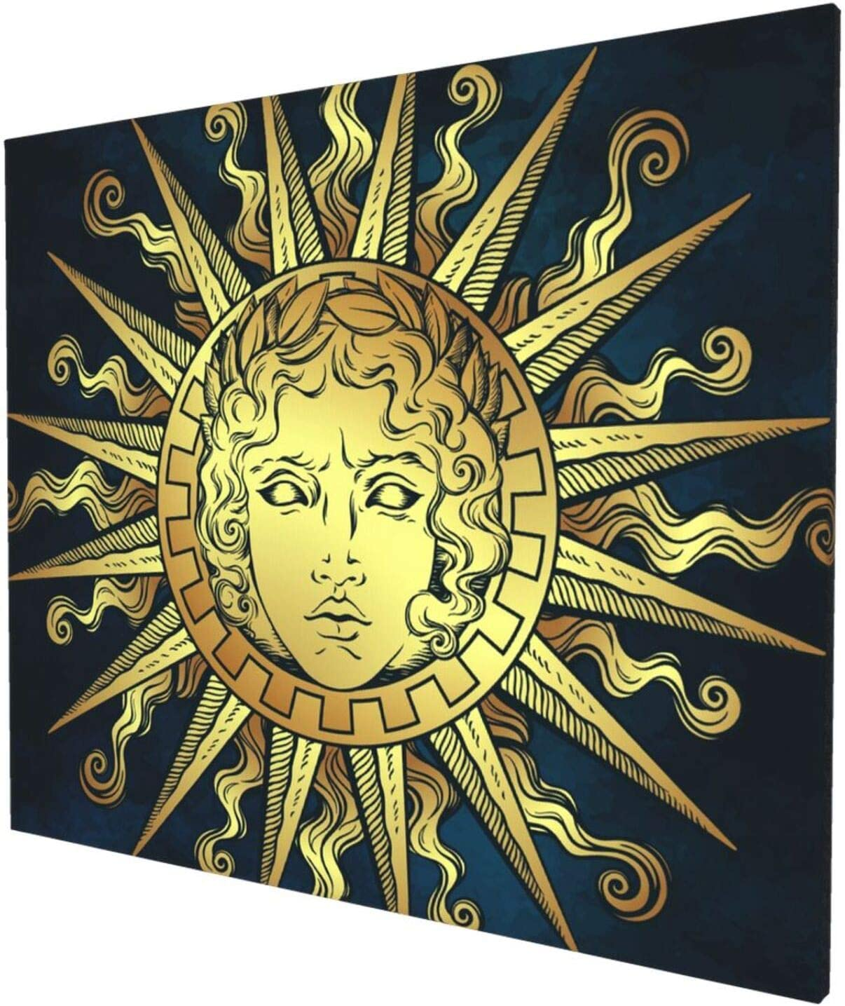Canvas Wall Art Home Decorations, Sun With Face Of The Greek And Roman God Apollo Wall Decor Artwork for Walls, Wall Decorations for Living Room Bedroom Frameless Wall Hanging Decor Paintings 24x20 Inch