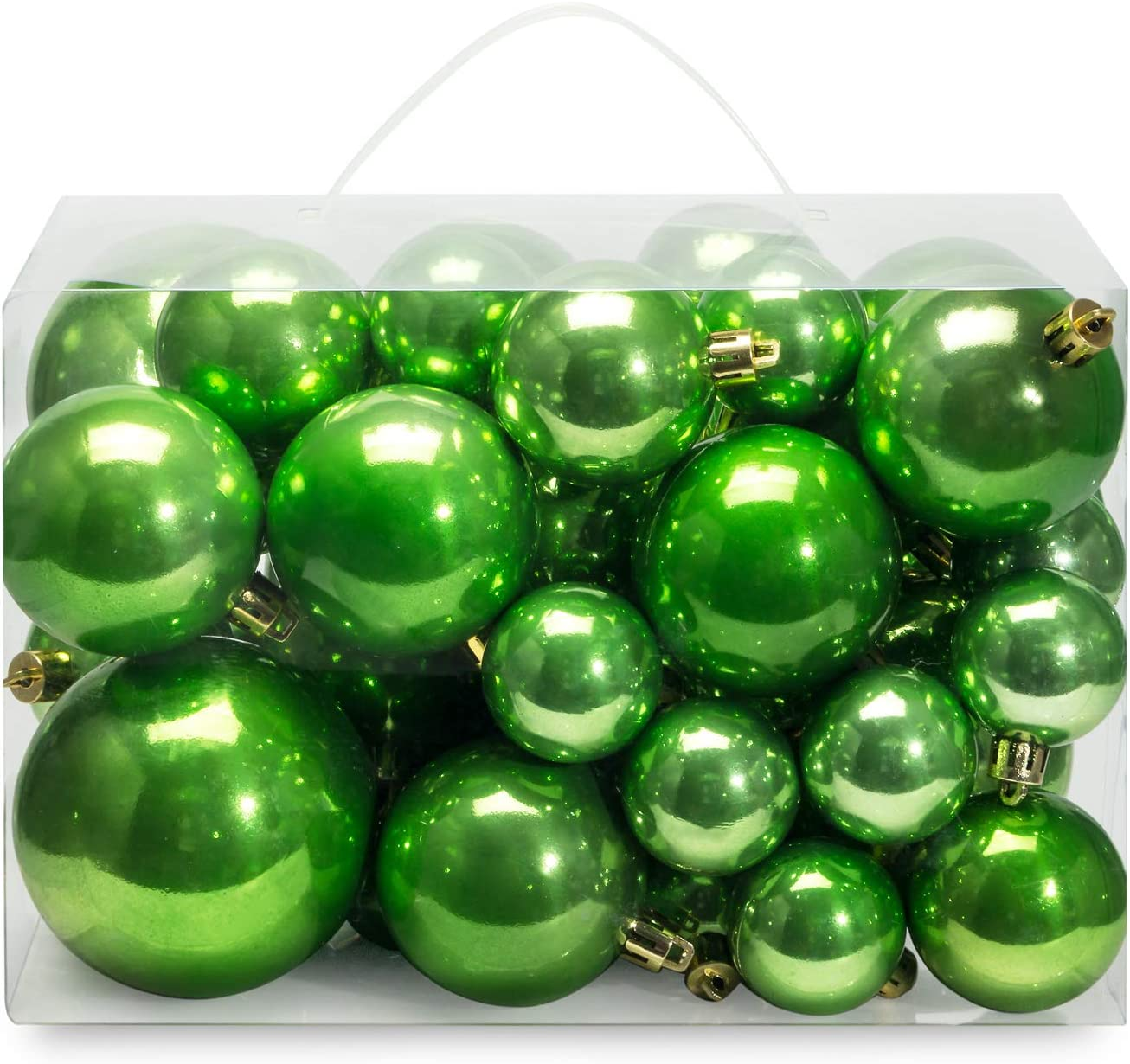 AMS Christmas Ball Plating Ornaments Tree Collection for Holiday Parties Decoration (40ct Pearl, Green)