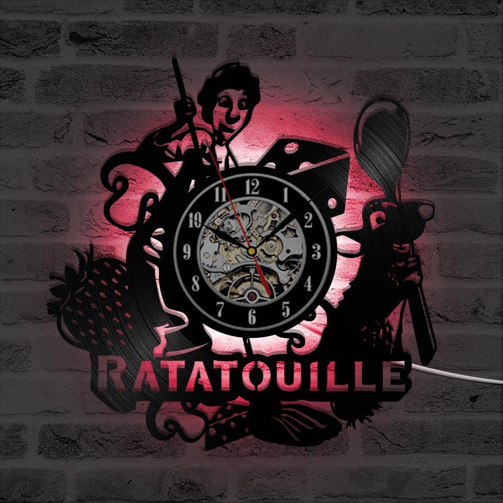 Ratatouille LED Reloj de Pared Control Remoto Silencio ...